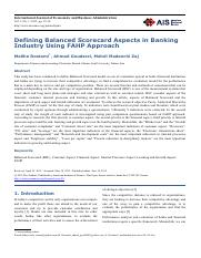 Defining Balanced Scorecard in banking industry, using FAHP approach (1)