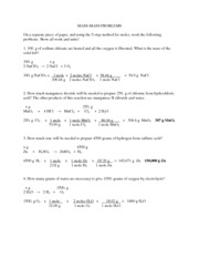 Mass-Mass Worksheet Answers - MASS-MASS PROBLEMS On a separate ...