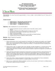 IT221 Class Plan, Week 5, Unit 5
