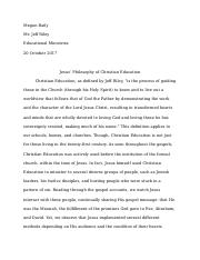 Jesus and Christian Education Response Paper.docx