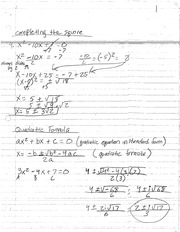 MAT 137 NOTES COMPLETING THE SQUARE AND QUADRATIC FORMULA