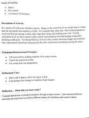 Dance Activity Notes