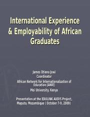 Jowi International Experience & Employability of African Graduates