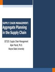 Chapter 8.2 - Aggregate Planning in the SC
