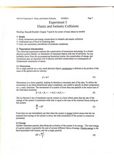 Physics Lab Experiment 5 Notes, Elastic and Inelastic Collisions