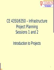 CE 4350, session 1, Intro to Projects, Sessions 1 and 2, student.pptx