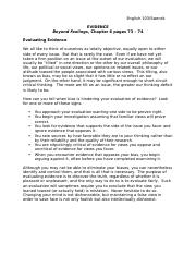 Evaluating Evidence Handout Beyond Feelings Chapter 6 (2)