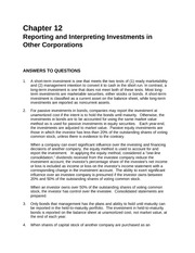 Chapter 12 Reporting and Interprenting Investments in other Corporations