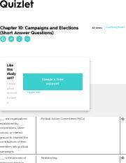 Chapter 10: Campaigns and Elections (Short Answer Questions) Flashcards | Quizlet