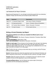Updated Lab Report Schedule and Directions