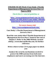 STRAYER CIS 505 Week 4 Case Study 1 Florida Department of Management Services Part I.doc