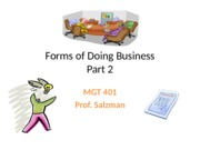 MGT 401 - Forms of Doing Business Pt 2