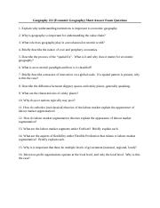 Geography_221_Short_Answer_Questions
