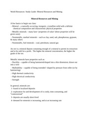 World Resources- Study Guide- Mineral Resources and Mining
