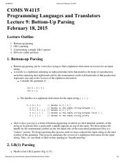 Lecture 9 Bottom-Up Parsing