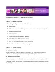 Chapter 14 - Conflict and Negotiation - Module