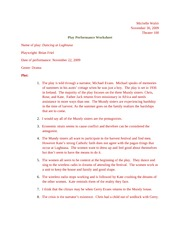 Play Performance Worksheet 5