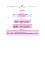 PHMD4588 Medical Terminology List #3 Communication.Documentation