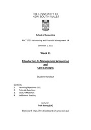 Week 11 Lecture Notes - Introduction to Management Accouting