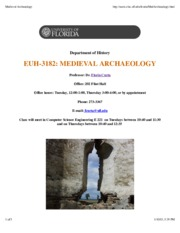 Medieval Archaeology Syllabus Spring 15