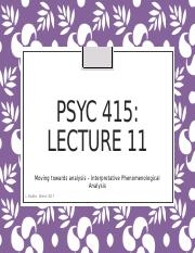 Lecture 11- Interpretative and Phenomenological Analysis