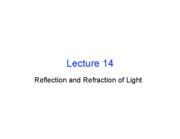 Lecture 14 - Refraction (Ch. 25.4-25.5)