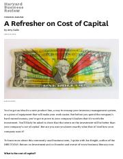 Gallo_HBR_2015_A Refresher on Cost of Capital