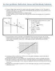 Worksheet Problems- RefractionLenses (with solutions)