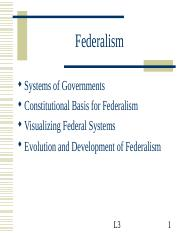 Lecture 3 - Federalism