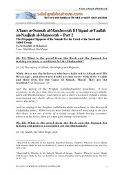The Propagated Signposts of the Sunnah for the Creed of the Saved and Aided Group - Part 2
