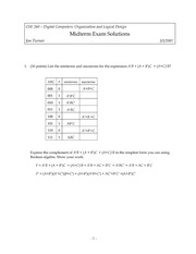 Midterm Exam Solution Spring 2007 on Introduction to Digital Logic and Computer Design