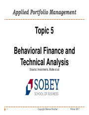 6672 - Topic 5 - Behaviorial Finance and Technical Analysis.pdf