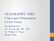 1HB3 Lecture 11 Global Urbanization Trends