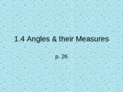 1.4 Angles & their measures