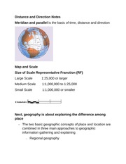 Distance and Direction Notes