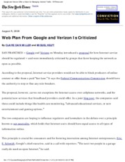 NYT+080910+-+Web+Plan+From+Google+and+Verizon+Is+Criticized