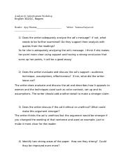 Essay 1 peer review questions 2
