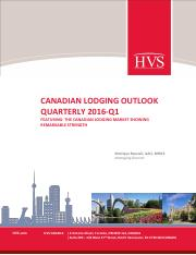 HVS - Canadian Lodging Outlook Quarterly 2016-Q1