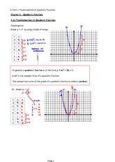 3.1 Part 1 Transformations of Quadratic Functions