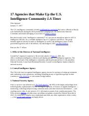 Containment Truman Doctrine 17 Agencies that Make Up US Intelligence Community LAT Jan 2017.docx