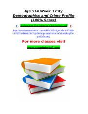 AJS 514 Week 3 City Demographics and Crime Profile (100% Score).doc
