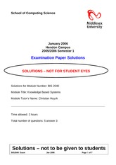 Examination Fall 2005 Solution on Knowledge Based Systems for Business