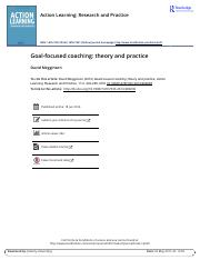 Goal focused coaching theory and practice