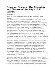 Meaning and Nature of Society.doc