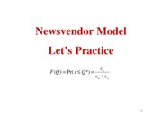 Lecture 6 Newsvendor examples and (Q,R) systemsl
