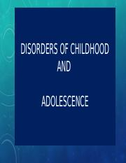Disorders of Childhood and Adolescents