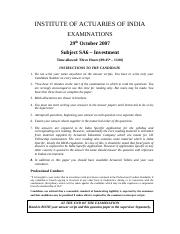 (www.entrance-exam.net)-Institute of Actuaries of India-Subject SA6- Investment Sample Paper 10