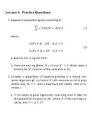 Lecture 4 Questions