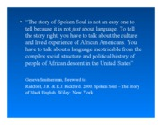 Lecture 18 African America English