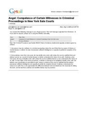 9-9-09 - NY LAW Competence of Certain Witnesses in Crimninal Proceedings in New York Sate Courts